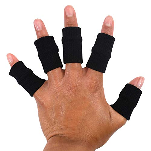 TRIXES 10x Finger Protector Sleeve Black, Arthritis Stretchy Support Sports Aid - Basketball Finger Guard