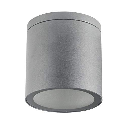 Aufbauleuchte Deckenleuchte Aufputz VENEZIA 18 (Rund, Grau) IP44 GU10 Fassung 230V Außenleuchte Strahler Deckenlampe Würfelleuchte CUBE Kronleuchter aus Aluminium Spot – ohne Leuchtmittel