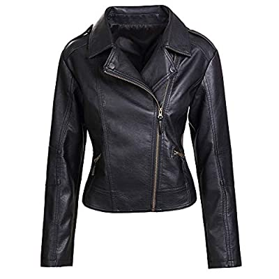 Artfasion Womens Slim Tailoring Faux Leather PU Short Jacket Coat Moto Biker Jacket (CT22-black, S) from