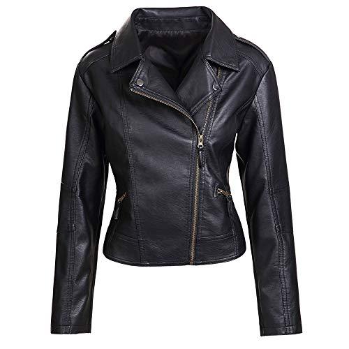 Artfasion Womens Slim Tailoring Faux Leather PU Short Jacket Coat Moto Biker Jacket (CT22-black, L)