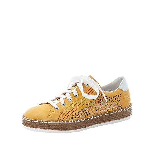 Rieker Mujer Zapatos con Cordones L78W6, señora Zapatos Deportivos con Cordones,Deportivo,Zapato Informal,Cordones,Amarillo (Gelb / 68),42 EU / 8 EU