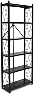 Origami 6-Shelf Bookcase | Open Style, Organizer Deco Rack, Large Book shelf, Tall Bookcase, Living room shelving, Freestanding, No assembly/no tools required, Modern Vertical Furniture | Black