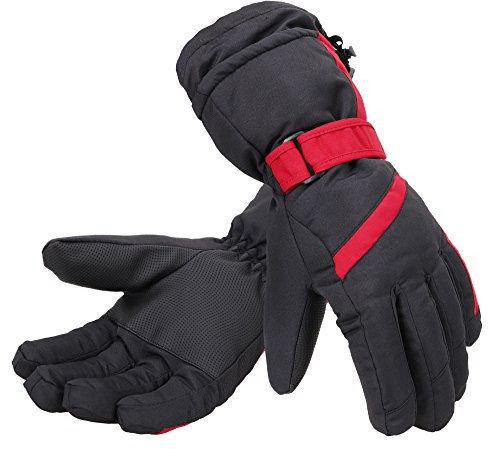 Simplity Ski Gloves Waterproof Snowboard Snow Warm Winter Skiing Gloves, Black Red, L