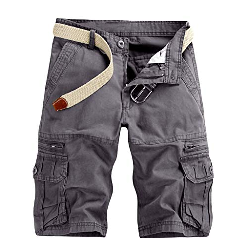 Aiserkly Männer Casual Pure Color Outdoor Pocket Strand Arbeitshose Cargo Shorts Hose Herren Cargohose Chinohose Strandhosen Sommer Freizeithose Dunkelgrau 29
