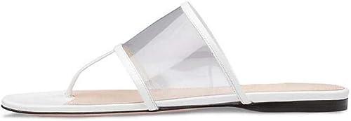 HYLFF Sandalias Mulas Planas Transparentes para damen, Tacones Bajos de PVC Slingback para damen