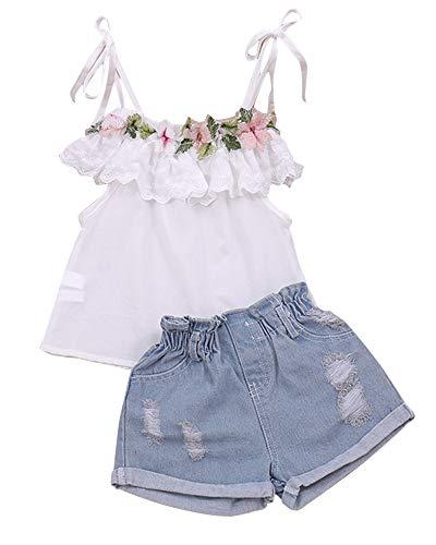 Springcmy Conjunto de roupa infantil para meninas com babados e girassol, calça jeans rasgada, conjunto de shorts de verão, Conjunto de shorts com alça J, 5-6X