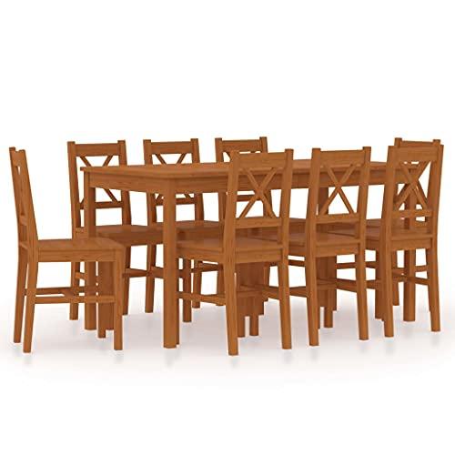 Juego de Mesa y sillas de Comedor, Juego de Comedor, Juego de Muebles de Cocina, Juego de Comedor de 9 Piezas, Madera de Pino, marrón Miel
