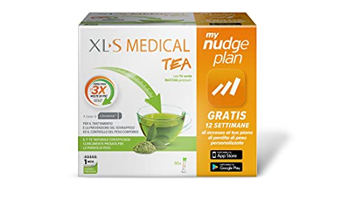 Xls Medical Tea Estratto di Tè Matcha per la Perdita di Peso, App My Nudge Plan Inclusa, 30 Giorni di Trattamento, 90 Stick