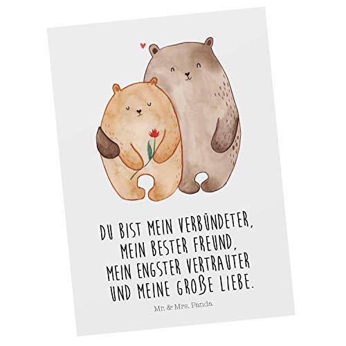 Mr. & Mrs. Panda Grußkarte, Einladung, Postkarte Bären Liebe mit Spruch - Farbe Weiß