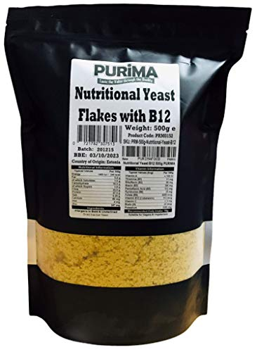 Nutritional Yeast Flakes 500g - with Vitamin B12 Protein Vegan Cheese Powder Alternative Dairy Free Flavouring - Cheesy Nutty Seasoning Savoury Condiment Dry Inactive Bulk Nooch Non GMO - PURIMA