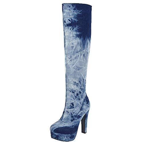 MISSUIT Damen Denim Plateau Stiefel High Heels Kniehoch Jeans Boots Kniehohe Stiefel mit Blockabsatz und Reißverschluss Schuhe(Dunkelblau,41)