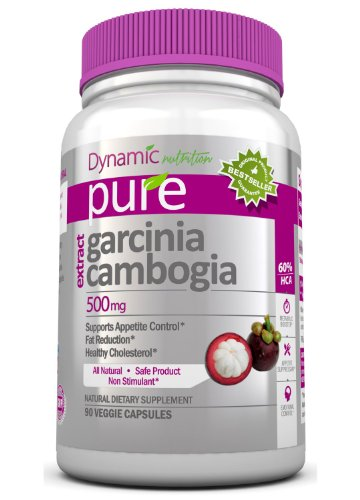 Garcinia Cambogia Extract - 100% Pure Garcinia Cambogia by Dynamic Nutrition- 500 mg, 90 Veggie Capsules (Featuring Clinically-Proven, 60% HCA Extract for Weight-Loss) 1,500 mg per Serving