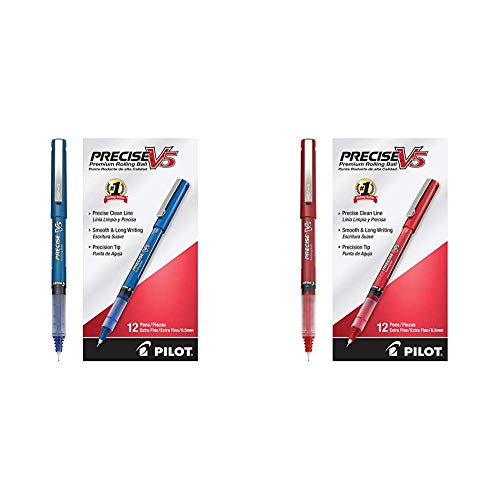 Pilot Precise V5 Stick Rolling Ball Pens Precision Point Ink .5mm, Blue, Patented Precision Point Technology & Rolling Ball Pens Precision Point Ink .5mm Pack of 12 Red