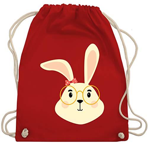 Tiermotive Kind - Süßer Hase mit Brille und Band - Unisize - Rot - turnbeutel osterhase - WM110 - Turnbeutel und Stoffbeutel aus Baumwolle