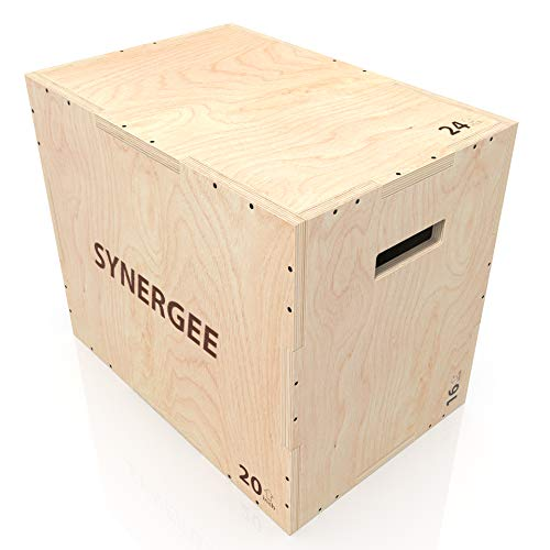 Synergee 3 in 1 Wood Plyometric Box for Jump Training and Conditioning. Wooden Plyo Box All in One Jump Trainer. Size - 24/20/16
