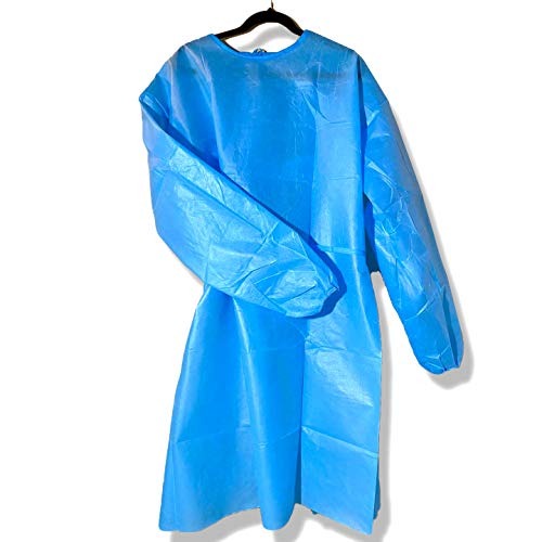 SIPA (20/30/40/50PCS) Disposable Gown,Protective Suit,Isolation Gowns,Disposable Isolation Clothing (Blue) (20, Large)