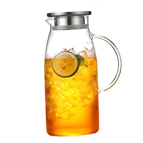 Teekanne Glas Teebereiter, Glaskaraffe 1.2 Liter / 1,8 Liter (Volle Kapazität) Glaskrug aus Borosilikatglas Wasserkrug mit Edelstahl Deckel Karaffe Glaskanne