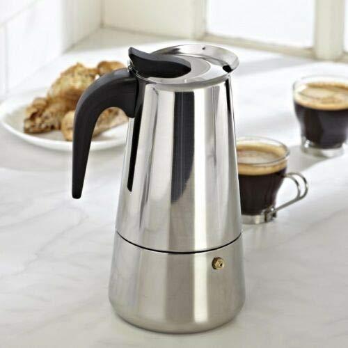 Stainless Steel Moka Espresso Coffee Pot Maker Percolator Stovetop Latte Cappuccino Italian Spanish Coffee (Silver, 4 Cup)