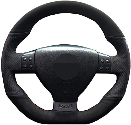 Car Steering Wheel Cover,For Passat R GT 2005,DIY Hand-Stitched Genuine Leather Suede Steering Wheel Cover