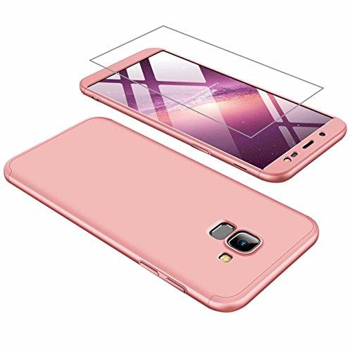 Funda Samsung J6 2018 Cubierta de 360°Caja AILZH Protección de Cáscara Dura Anti-Shock Anti-Rasguño del Protector Completo del Cuerpo 360 Grados Caso Mate+ Vidrio Templado Rose(Rosa)