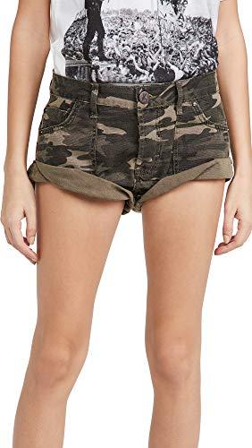One Teaspoon Women's Camo Bandit Low Waist Denim Shorts, Camo, Print, Green, 29