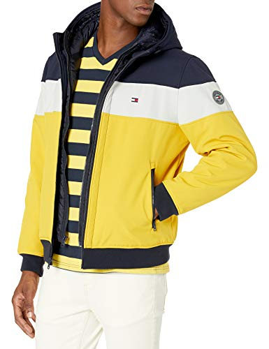 Tommy Hilfiger Men's Hooded Soft Shell Bomber Jacket with Bib (Standard and Big & Tall), Yellow/Navy Patch, Small