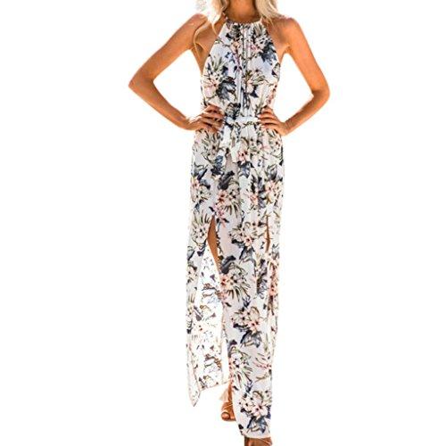 Goosun -------Kleider Damen Kleider,Goosun Frauen Sommer O-Neck Loose Sleeveless Ankle-Length Drucken BohoLässig Modisch Elegant Lange Maxi Abend Party StrandBlumenkleid (Weiß, S)