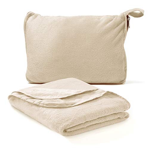 Americanflat Travel Blanket and Pillow Set - 2 in 1 Soft Plush Airplane Blanket with Hand Luggage Strap, Tan