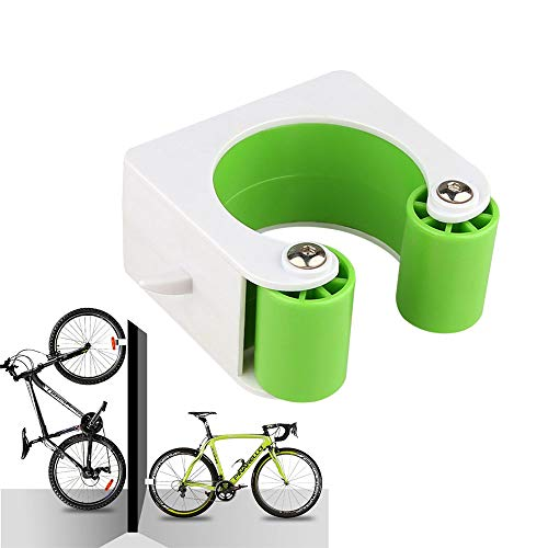 Ewolee Bike Clip, Indoor Outdoor Portable Bike Hanger Wall Mount for Vertical and Horizontal Storage, Bicycle Rack Storage System Space Saver Holder Storage Stand (Green, for Mountain Bike)