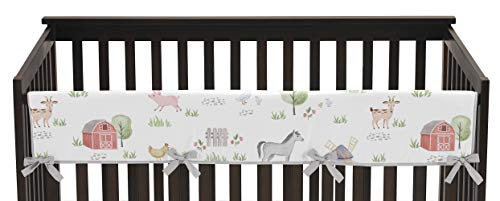 Sweet Jojo Designs Farm Animals Boy or Girl Long Front Crib Rail Guard Baby Teething Cover Protector Wrap - Watercolor Farmhouse Lattice Horse Cow Sheep Pig
