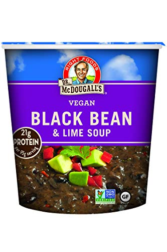 Dr. McDougall's Right Foods Vegan Black Bean & Lime Soup, 3.4 Ounce Cups (Pack of 6) Gluten-Free, Non-GMO, No Added Oil, Paper Cups From Certified Sustainably-Managed Forests