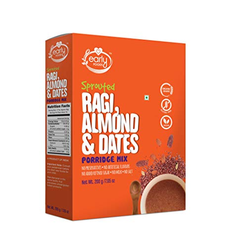 Early Foods Sprouted Ragi Almond Date Porridge Mix, 200 g