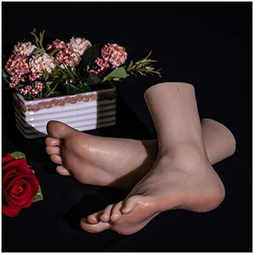 Mujer de silicona del pie Pies Modelo - Silicon Size Life Pies Modelo maniquí de pie para el pie - Zapatos Calcetines Art Display Pies Boceto fotografía apoya Formación de pedicura modelo,1pair