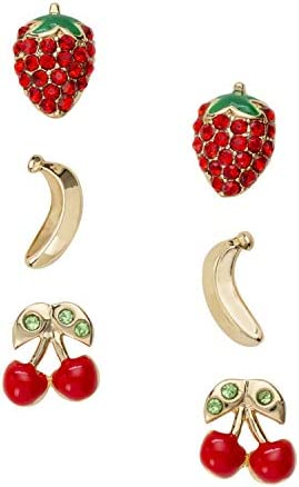 Icons Collection Gold tone cherry banana strawberry trio jewelry sets Gold tone cherry banana product image