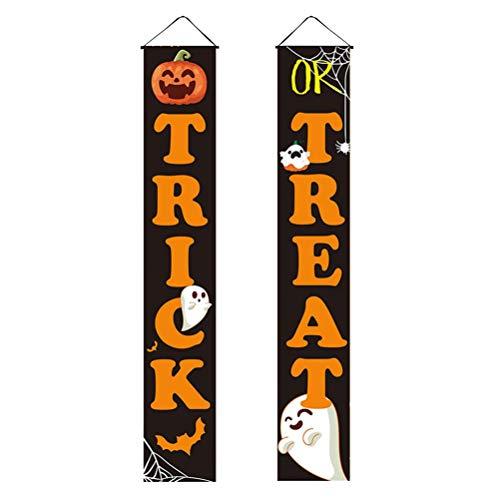 Toyvian 1 par de banners para porta de Halloween ao ar livre abóbora artigos de festa para doces ou doces placa de varanda para parede da porta da frente
