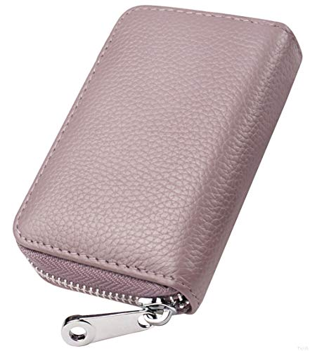 Womens Credit Card Holder Small RFID Blocking Ladies Wallet with Stainless Steel Zipper Excellent Genuine Leather Accordion Wallets Case for Women ID Compact Slim Blocked Zip Accordian Cards Purple