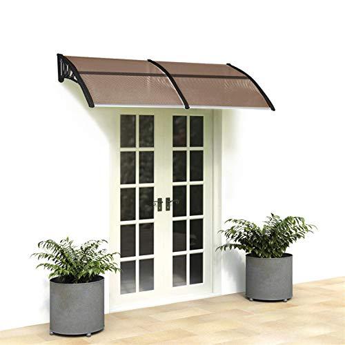 JEK Door Window Awning Canopy-Household Application Rain Cover Eaves Canopy - Snow and Rain Blocker (Black&100 x 100 cm)