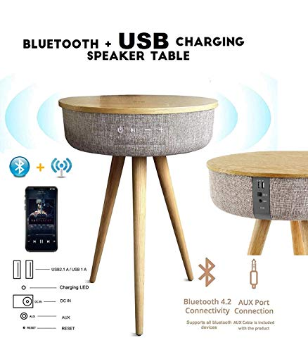 V800W Smart Table Decor Modern Home Portable Bluetooth Speaker 360 Surround HD Sound with 6 Speakers Drivers Charger Dual USB AUX Inputs End Table Coffee Table Night Stand