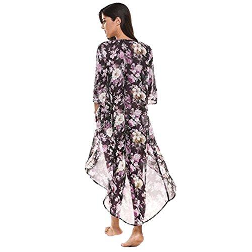 ❤️ Amlaiworld Cárdigan de Kimono largo floral de gasa de mujeres del verano Capa Chaqueta de abrigo Mujer Verano Impresión Blusa trajes de baño cubrir bikini cover up de playa Chales (Multicolor, S)