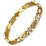 Rainso Womens Titanium Steel Golf Magnetic Therapy Bracelet Rhinestone Health Wristband with 3