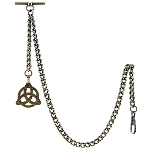 Albert Chain Pocket Watch Chains for Men Antique Brass Plating with Celtic Knot Design Fob T Bar AC08