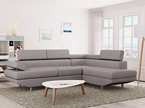 Canapé d'angle Gris Tissu Scandinave