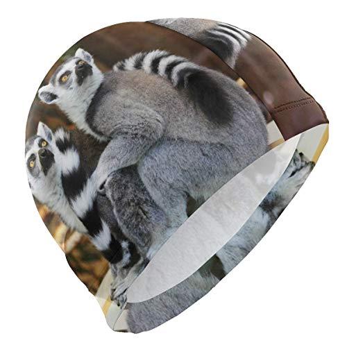 Tcerlcir Gorro Natación Mono Lindo Gorro de Piscina para Hombre y Mujer Hecho de Silicona Ideal para Pelo Largo y Corto