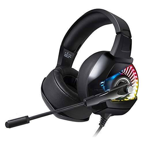 LXFTK Casque de jeu d'ordinateur avec microphone RVB Caisson de basses filaire de réduction du bruit Casque stéréo Noir