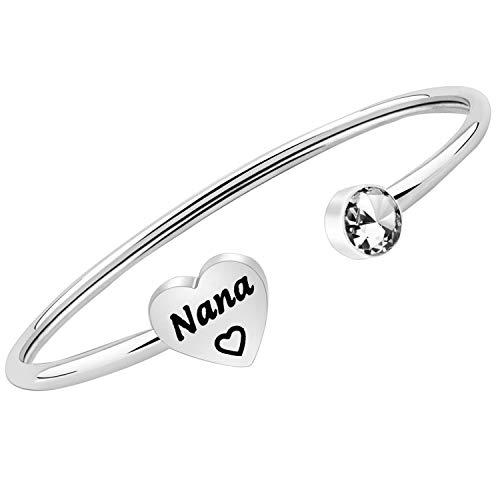 Nana Gifts Nana Bracelet Grandma Gifts Nana Jewelry Gift from Grandchild Nana Birthday Gifts for Mimi Grandmother (silver)