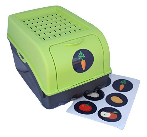 Scatola di Conservazione / Contenitore per patate, verdura, frutta, scatola portaoggetti in plastica, Volume di 7,7 litri + 6 autoadhesivo (verde) (Verde)