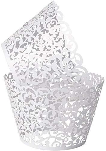 100 Stück Cupcake-Förmchen, Cupcake-Förmchen, kunstvolle Backen, Papierförmchen, Spitze, lasergeschnittene Cupcake-Muffinförmchen für Hochzeit, Party, Geburtstagsdekoration, weiß