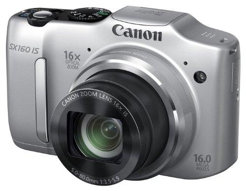 Canon PowerShot SX160 IS Digitaltkamera (16 MP, 16-fach opt. Zoom, 7,5cm (3 Zoll) LCD) silber