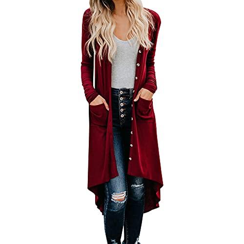 Las mujeres de punto cárdigans abrigo sólido botones abiertos frente suelto señoras casual manga larga drapeado chaqueta larga Tops abrigo, Vino, L