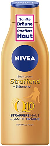 Loción corporal reafirmante de Nivea + bronceador Q10 (200 ml), cuidado para un bronceado suave con aroma fresco de verano, cuidado de la piel antienvejecimiento y reafirmante con Q10.